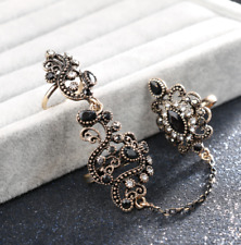 Adjustable Women's Turkish Two Finger Rings Vintage Style Black Ring