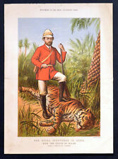 ROYAL SPORTSMAN IN INDIA 1875 Prince of Wales - Overend VICTORIAN ENGRAVING