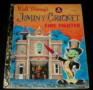 VINTAGE LITTLE GOLDEN BOOK - WALT DISNEY JIMINY CRICKET FIRE FIGHTER D108