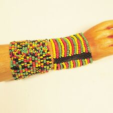Set of 2 Rasta Colors Multi Strand Handmade Cleo Stretch Seed Bead Bracelets