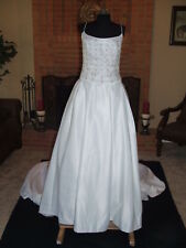 NWT $ 2800 MOONLIGHT BRIDAL whte gold Accent Wedding Gown Formal Train size 12