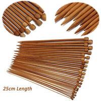 36Pcs/Set 18 Sizes Carbonized Bamboo Single Pointed Crochet Knitting Needles NEW