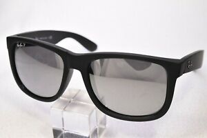 RAY-BAN RB4165 JUSTIN RUBBERIZED POLARIZED MIRRORED SUNGLASSES ITALY
