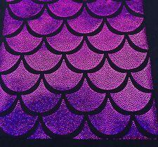 Magenta Jumbo Hologram Mermaid Fish Scales-4 Way Stretch Lycra-spandex- Yard.