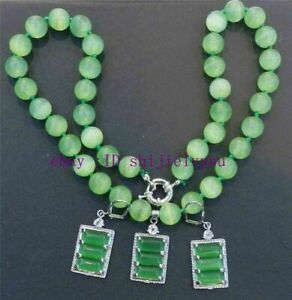 """Beautiful Green Mexican Opal Round Beads Gems Pendant Necklace Earring Set 18"""""""