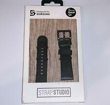 Genuine OEM Samsung Galaxy Gear S3 Strap Studio Essex Leather Band Black NEW