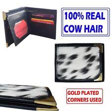 Black REAL COW HAIR Pocket Wallet Genuine Leather Bifold Purse Vintage Mens Gift