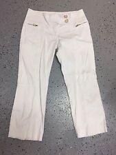 CACHE White Crop Capri Pants Women's Sz 2 Zipper Details Mirror Buttons (G329)