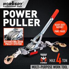 4Ton Manual Hand Winch Puller Power Hoist Tool 3 Hooks 4x4 UTE Car Truck Trailer