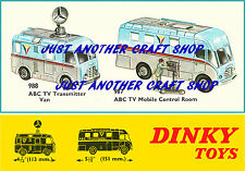 Dinky Toys 987 988 ABC TV Van & Control Room A3 size Poster Leaflet Sign Advert