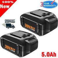 2X WA3578 5.0Ah For WORX WA3575 20V Max Lithium 5.0A Battery WA3520 WG160 WA3525