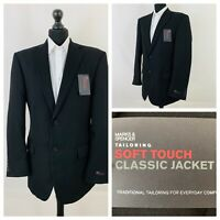 Marks & Spencer Mens Jacket Blazer Chest 42 Long Black NEW  OR342