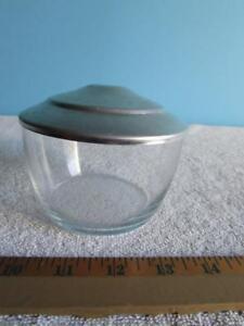 """Small Glass Jar W/ Aluminum Lid 3"""" Tall"""