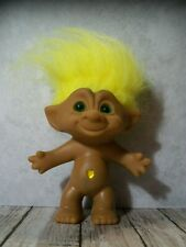 "5"" Yellow Hair Treasure Troll, Yellow Heart Belly Jewel Wishstone"