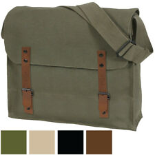 Medic Shoulder Bag Military Vintage Washed Canvas Solid Army NATO Leather