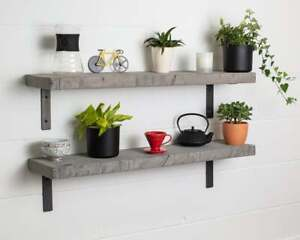 Grey Straight Edge- Thick- Non Lipped- Wax Finish-Rustic Shelves Handcrafted