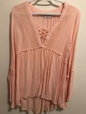 Dex Pink/Blush Bell Sleeved High Waist Flowy Tunic
