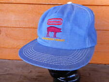Vintage Hormel Feeds Hog Denim TRUCKER HAT Vintage Snap Back Farmer IA MN