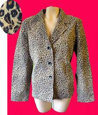 LEOPARD print suede leather jacket animal blazer cafe punk steam coat l large
