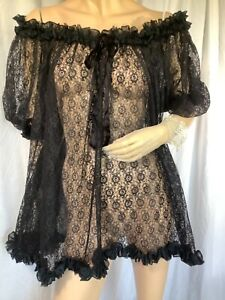 vintage Black lace Puff sleeve Ruffle mini Negligee 60s pinup One Size babydoll