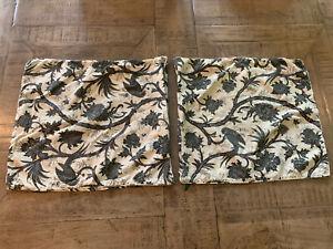 "Set of 2 Ralph Lauren Beige & Black Floral Birds Throw Pillow Covers 18"" EUC"