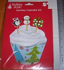 NEW CHRISTMAS Tree CUPCAKE Kit 6Wraps & 6 Flags In Kit