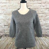 Ann Taylor Sz M Cotton Wool Blend Knit Pullover Sweater 3/4 Sleeve Slit Hem