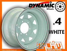 SET OF 4 WHITE 4X4 DYNAMIC SUNRAYSIA WHEELS 16X8 6/139.7 OR 5.5 4WD RIM HILUX