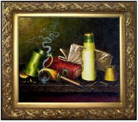 Framed Still Life with Tobacco Pipe and Books, Hand Painted Oil Painting 20x24in