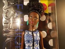BARBIE FASHIONISTAS #25 AFRICAN AMERICAN BLUE BROCADE PETITE TIGER EYES UPDO