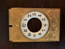 Antique ornate engraved clock dial frame & porcelain enameled dial