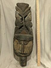 Large Face Sculpture with Bold Carved Features — Authentic African Wood Art