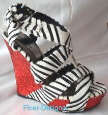Bertinni Wedges buckle Strap Peep toe heels zebra Red glitter Sexy Shoes 8 NEW