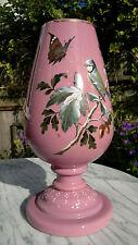 More details for large 44cm antique pink opaline glass vase hand enamelled ~ blue tit & acorns