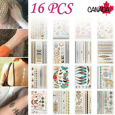 16X Tattoo Stickers Temporary Metallic Flash Gold Inspired Body Makeup Patry NEW