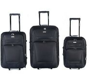 GLOBALWAY 3 PCs Luggage Travel Set Trolley Bag Suitcase 2 Wheels Black