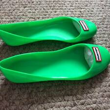 New HUNTER Womens Romilly Ballet Flat Bright Neon Green Shoes UK 4