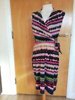 Ladies NINA LEONARD Dress Size S 8 10 Multicoloured Faux Wrap Party Evening