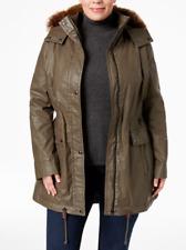 Calvin Klein Plus Size Faux-Fur Trim Coated Anorak Parka Jacket Green size 1X