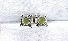 One Pair 4mm Round Peridot Sterling Silver Cabochon Cab Gemstone Stud Earring