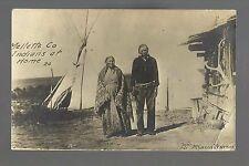 Dallas SOUTH DAKOTA RP 1911 SIOUX INDIAN CAMP Tepee Log Cabin Indians Elk Horn