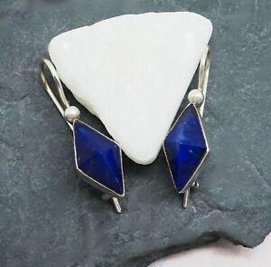 Lapislazuli blau eckig Raute Design Ohrringe Ohrhänger 925 Sterling Silber neu