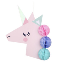 Unicorn Party Hanging Decoration With Tissue Paper Honeycomb Balls Pom Poms 23cm
