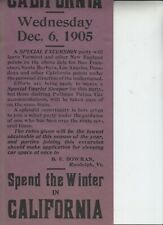 Original Broadside  Special Excursion to California Wed. Dec. 6,1905