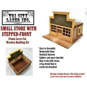 28mm Small Store, Stepped-Front Roof - TriCityLaserInc - SENT FIRST CLASS