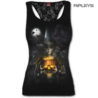 Spiral Ladies Black Goth WITCHING HOUR Halloween Lace Vest Top All Sizes