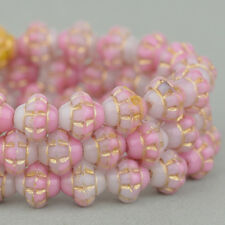 (25) Czech Glass Beads - 6mm Saturn - Pink Mix with Gold Wash - #RJ202733