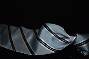 Ermenegildo Zegna Wilkes Bashford Sky Blue Rib Silk Navy White Repp Stripe Tie