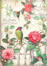 Rice Paper for Decoupage Scrapbook Craft Sheet - Gate Bird Roses