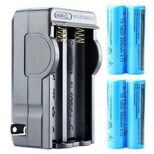 4PCS 3000mAh 3.7V Li-ion 18650 Rechargeable Batteries + Charger Plug For Torch